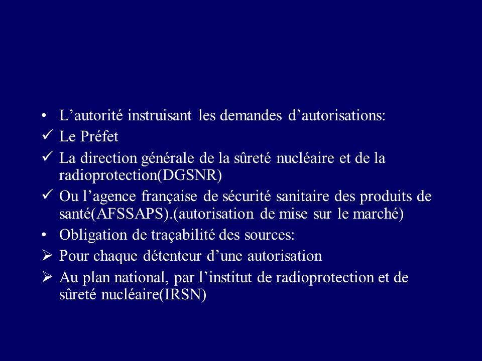L'autorité instruisant les demandes d'autorisations: