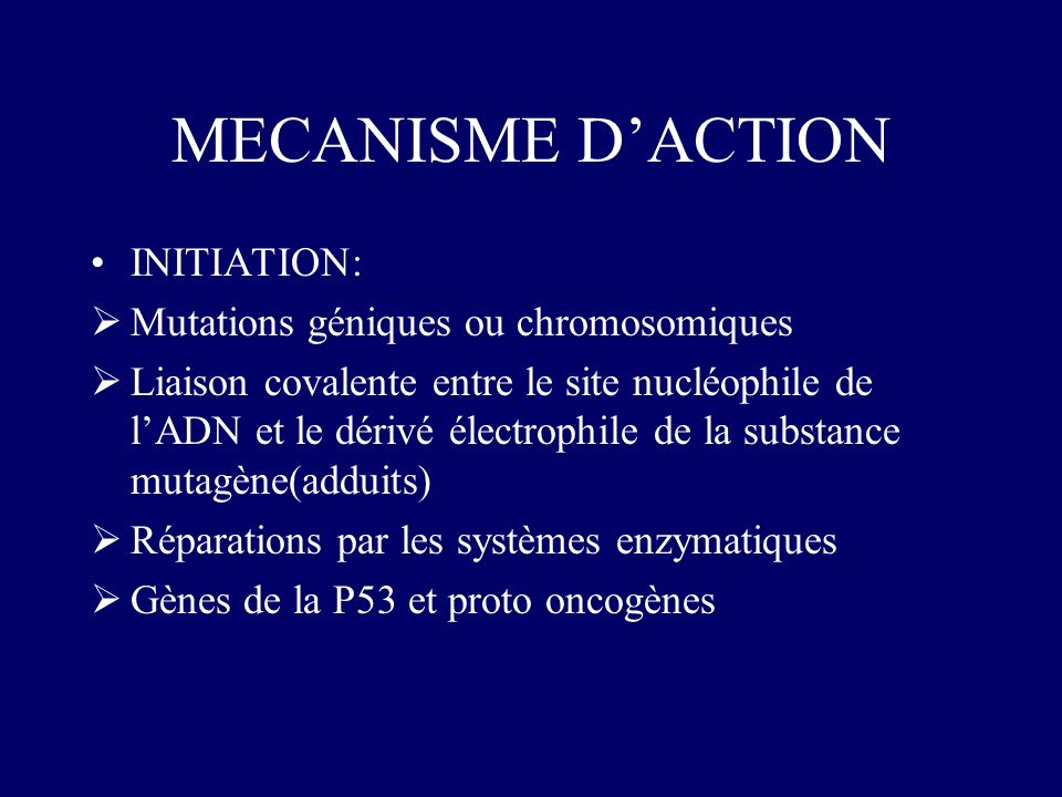 MECANISME D'ACTION INITIATION: Mutations géniques ou chromosomiques