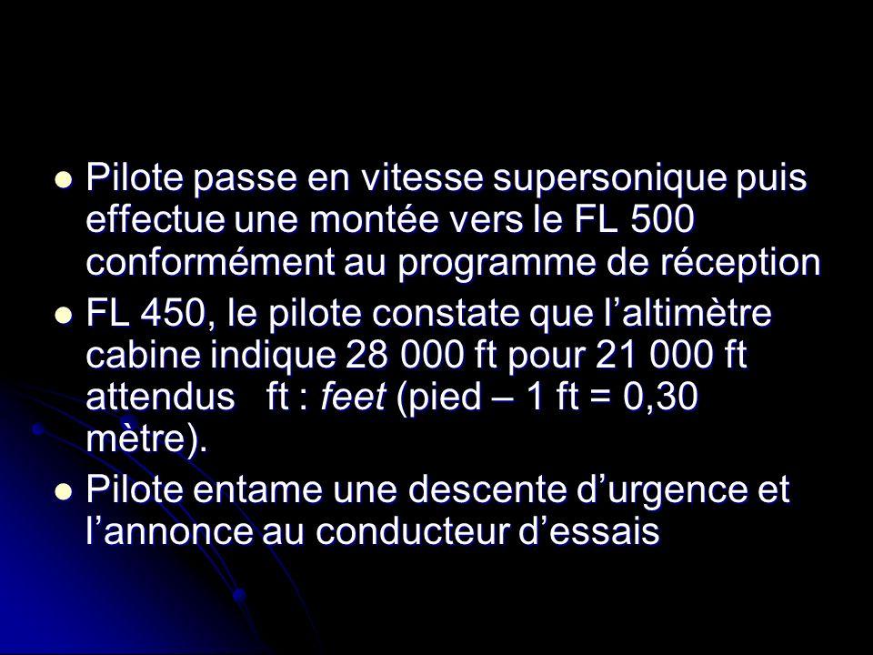Pilote passe en vitesse supersonique puis effectue une montée vers le FL 500 conformément au programme de réception