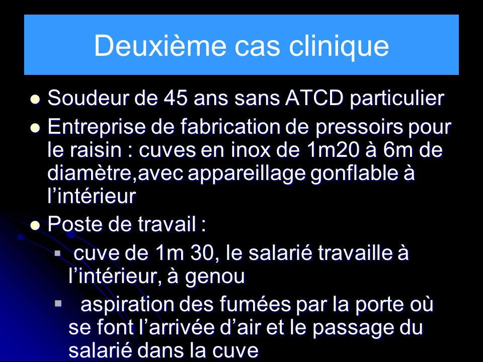 Deuxième cas clinique Soudeur de 45 ans sans ATCD particulier