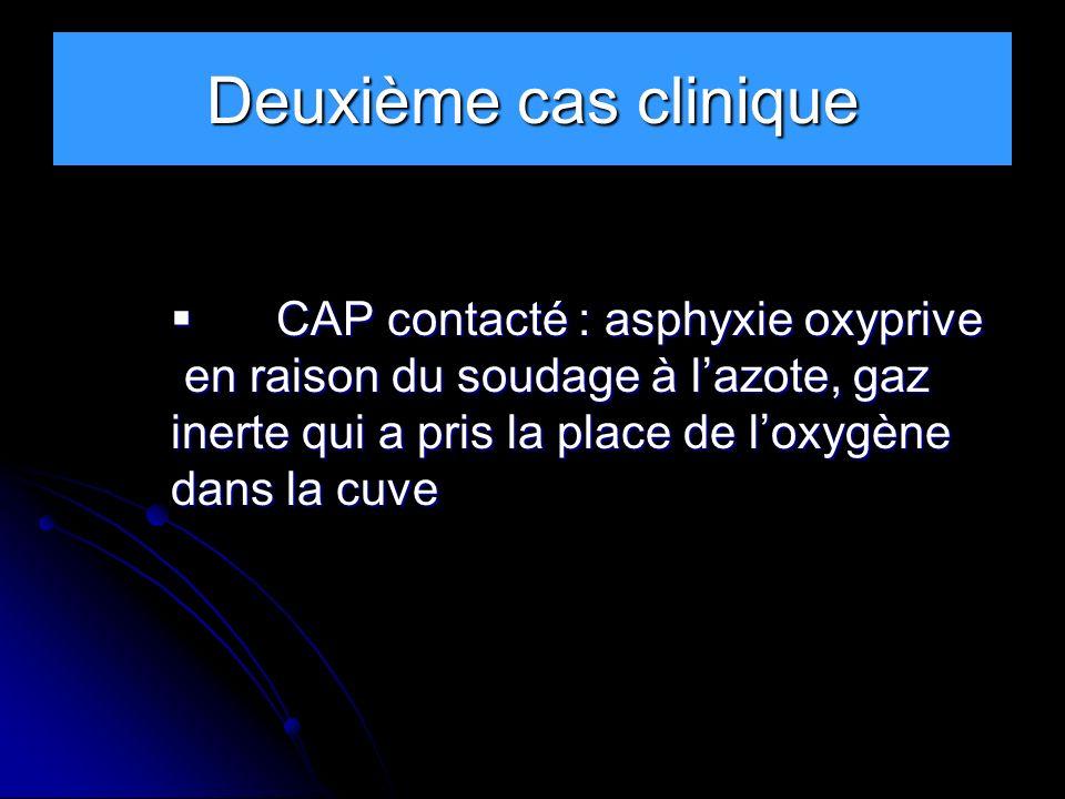 Deuxième cas clinique CAP contacté : asphyxie oxyprive
