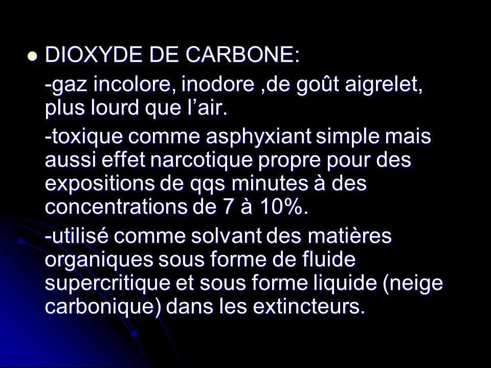 DIOXYDE DE CARBONE: -gaz incolore, inodore ,de goût aigrelet, plus lourd que l'air.