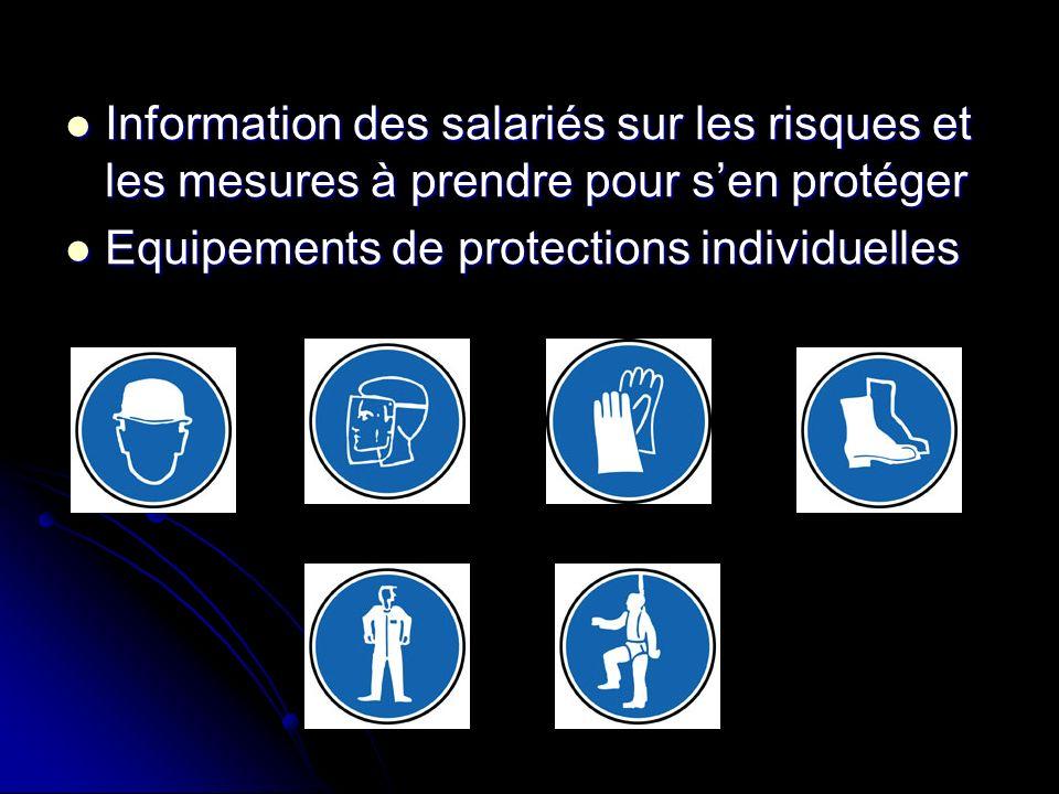 Information des salariés sur les risques et les mesures à prendre pour s'en protéger