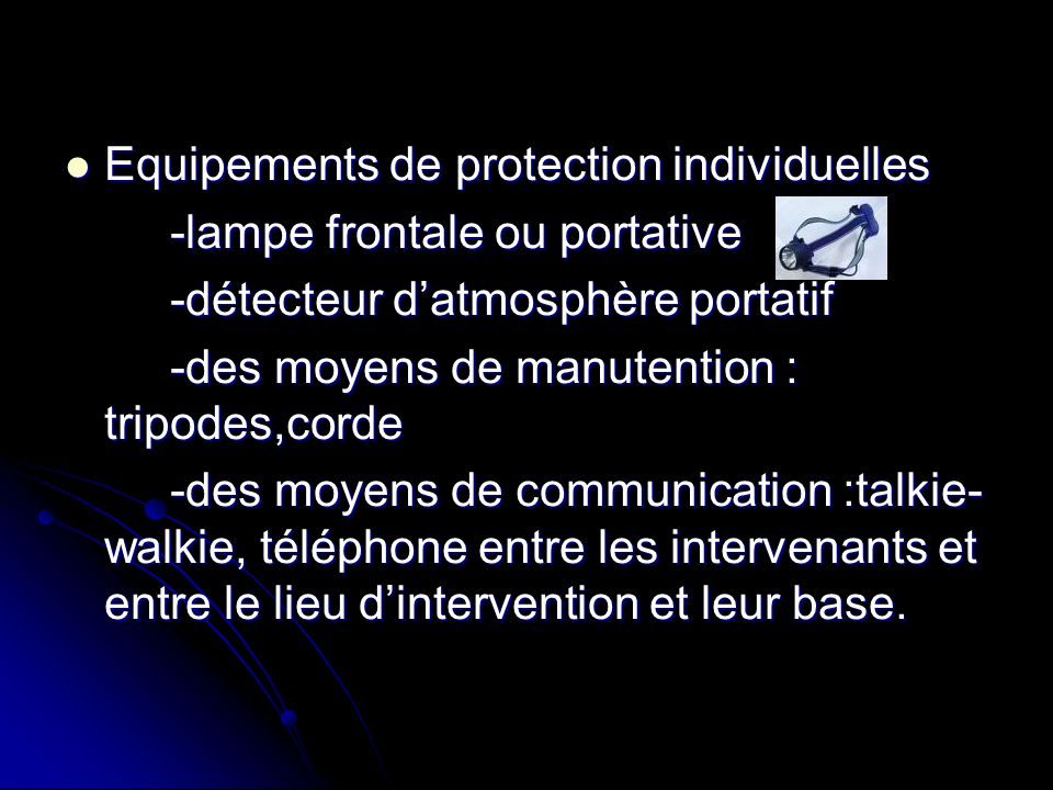 Equipements de protection individuelles