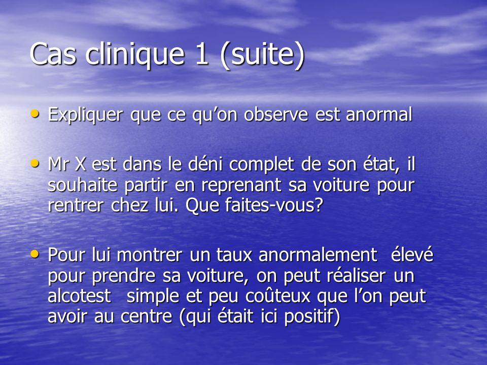 Cas clinique 1 (suite) Expliquer que ce qu'on observe est anormal