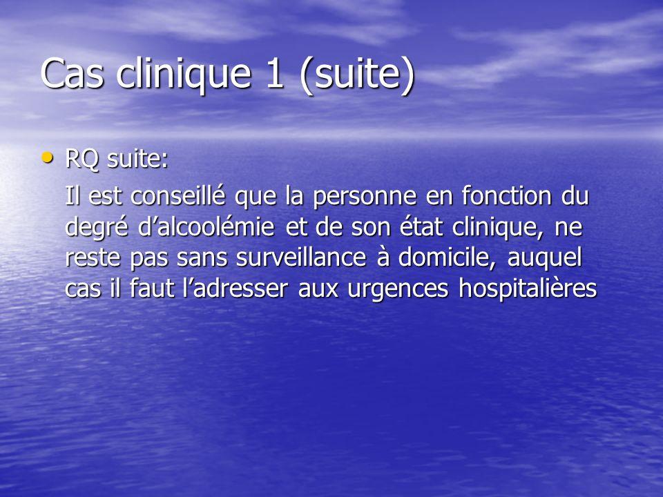 Cas clinique 1 (suite) RQ suite: