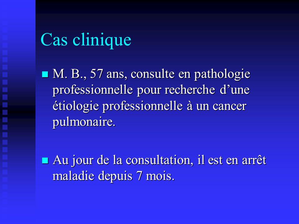 Cas clinique M. B., 57 ans, consulte en pathologie professionnelle pour recherche d'une étiologie professionnelle à un cancer pulmonaire.