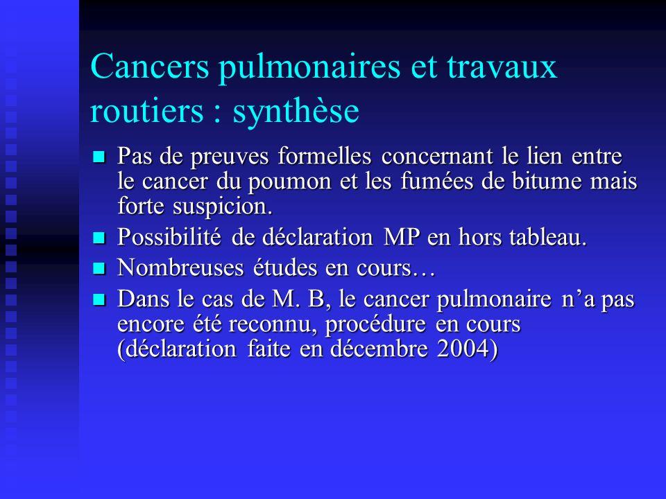 Cancers pulmonaires et travaux routiers : synthèse