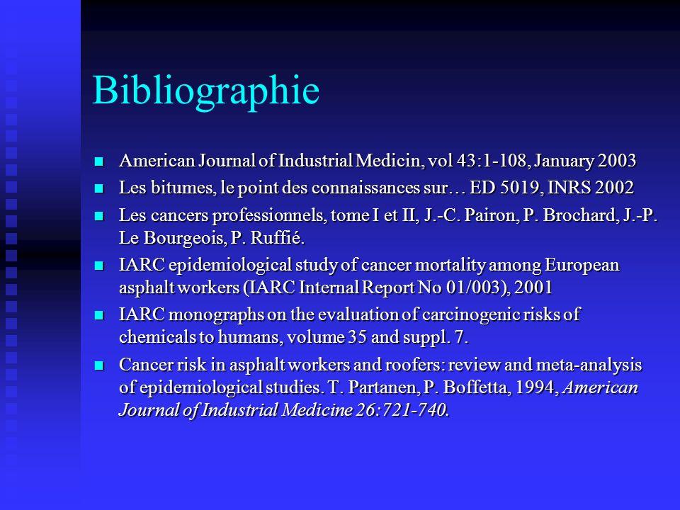 Bibliographie American Journal of Industrial Medicin, vol 43:1-108, January 2003. Les bitumes, le point des connaissances sur… ED 5019, INRS 2002.