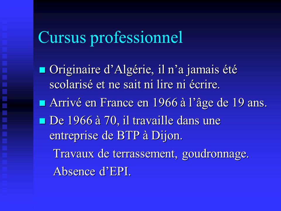 Cursus professionnel Originaire d'Algérie, il n'a jamais été scolarisé et ne sait ni lire ni écrire.