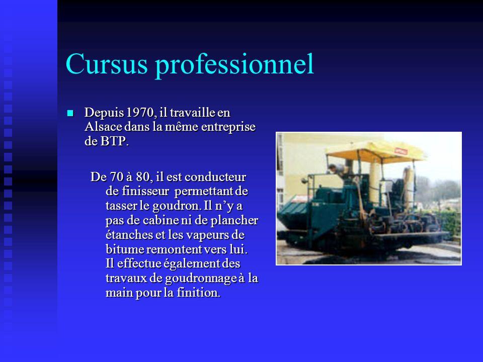Cursus professionnel Depuis 1970, il travaille en Alsace dans la même entreprise de BTP.