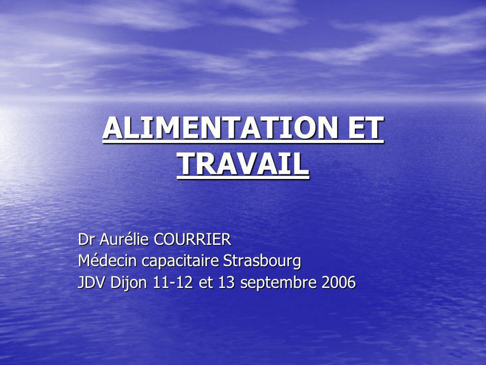 ALIMENTATION ET TRAVAIL