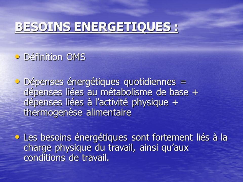 BESOINS ENERGETIQUES :