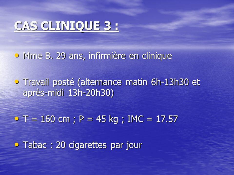 CAS CLINIQUE 3 : Mme B. 29 ans, infirmière en clinique