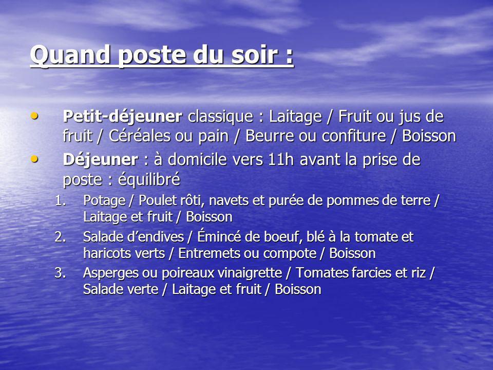 Quand poste du soir : Petit-déjeuner classique : Laitage / Fruit ou jus de fruit / Céréales ou pain / Beurre ou confiture / Boisson.