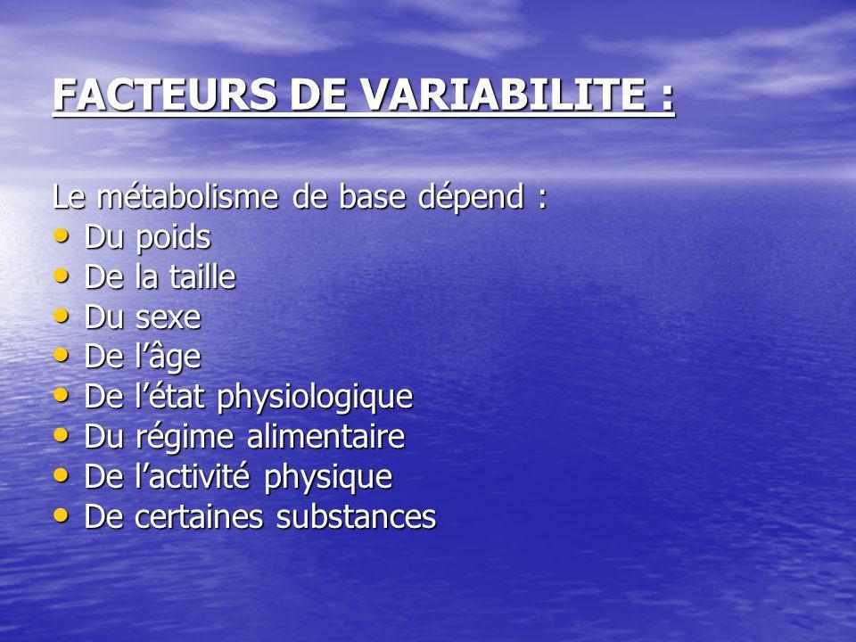 FACTEURS DE VARIABILITE :