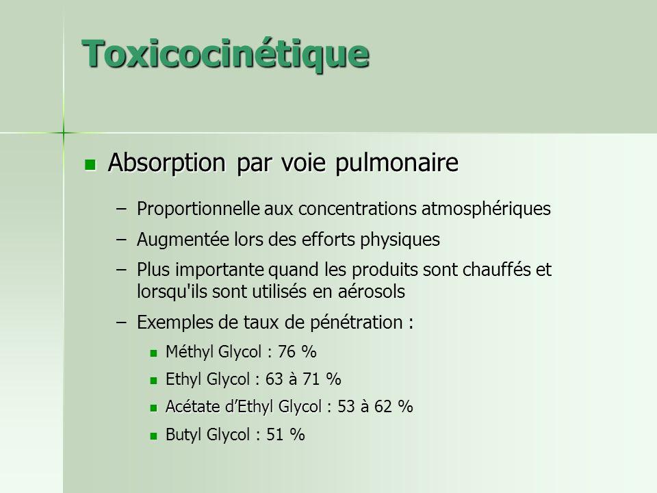 Toxicocinétique Absorption par voie pulmonaire