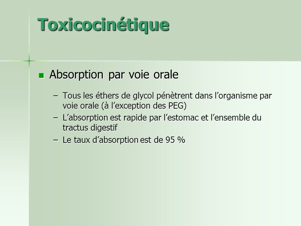 Toxicocinétique Absorption par voie orale