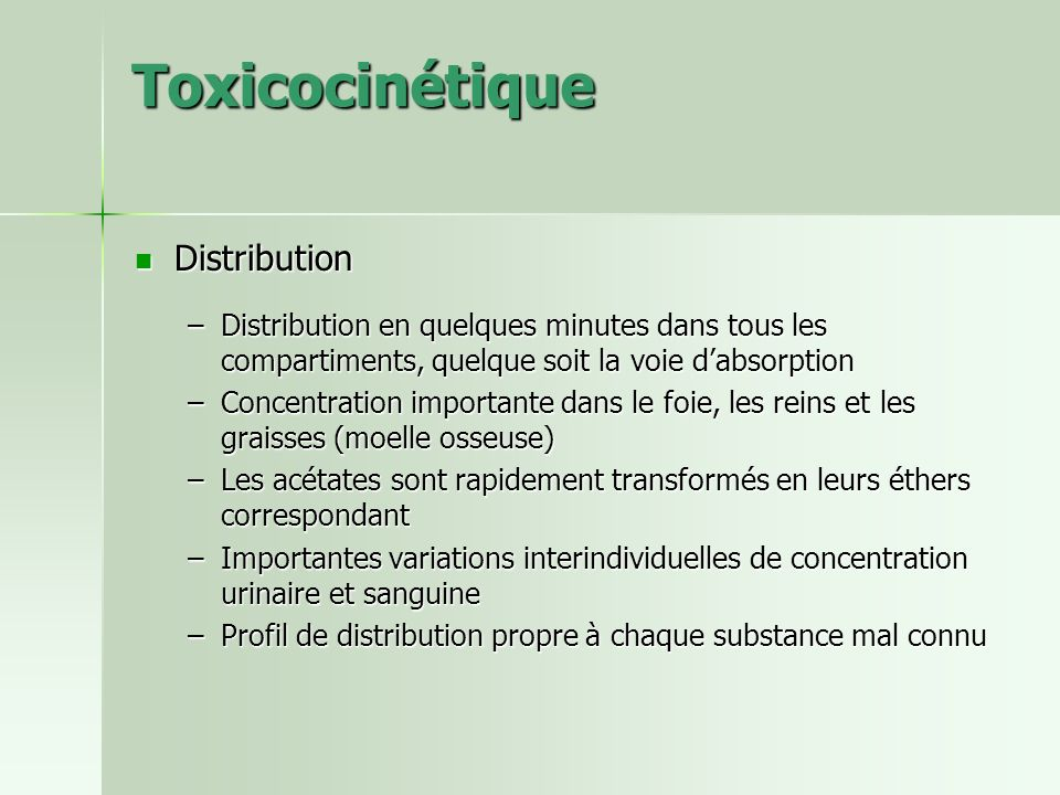 Toxicocinétique Distribution