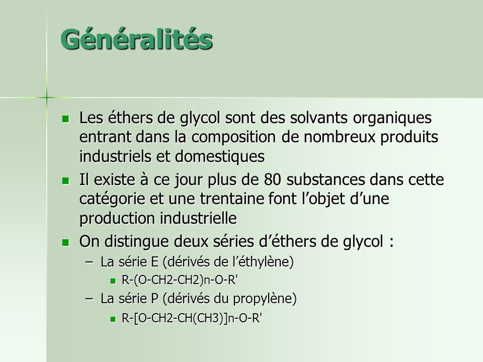 Généralités Les éthers de glycol sont des solvants organiques entrant dans la composition de nombreux produits industriels et domestiques.