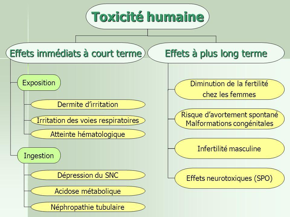 Toxicité humaine Effets immédiats à court terme