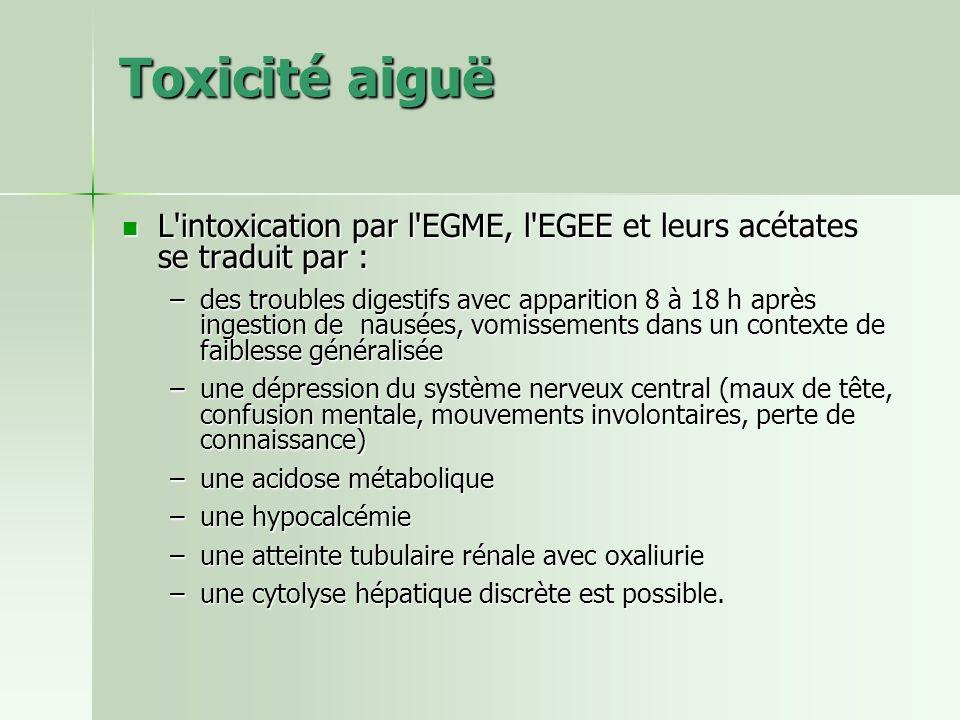 Toxicité aiguë L intoxication par l EGME, l EGEE et leurs acétates se traduit par :