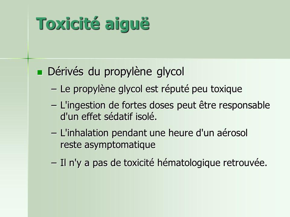 Toxicité aiguë Dérivés du propylène glycol