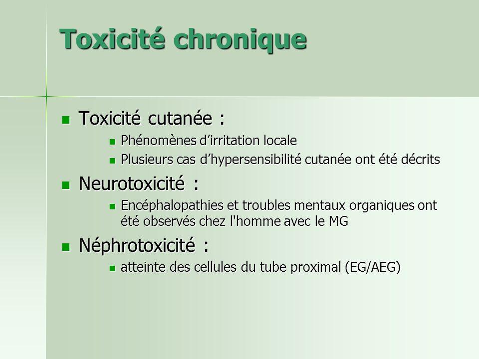 Toxicité chronique Toxicité cutanée : Neurotoxicité : Néphrotoxicité :