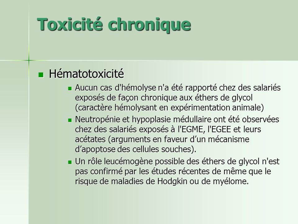 Toxicité chronique Hématotoxicité