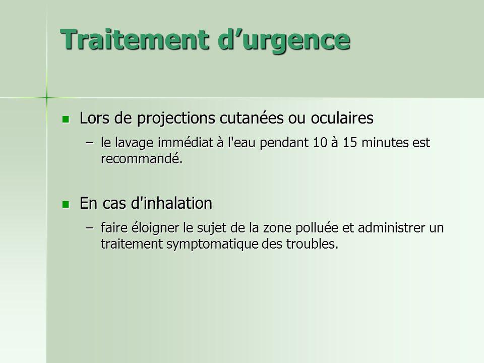 Traitement d'urgence Lors de projections cutanées ou oculaires