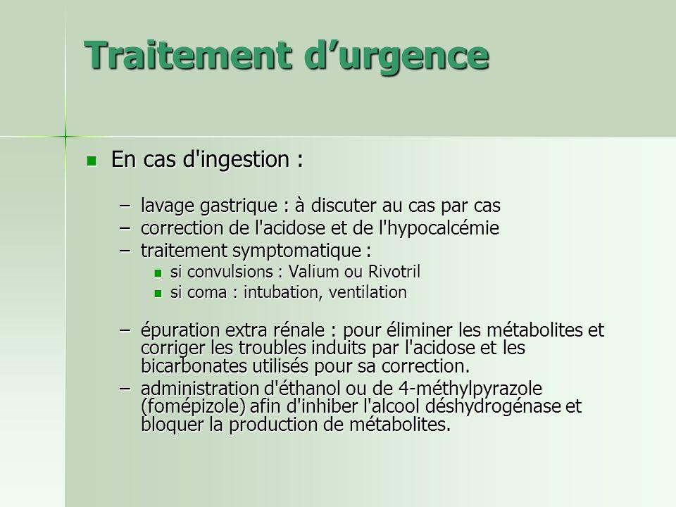 Traitement d'urgence En cas d ingestion :