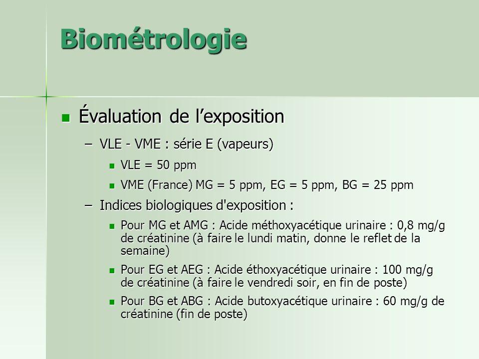 Biométrologie Évaluation de l'exposition VLE - VME : série E (vapeurs)