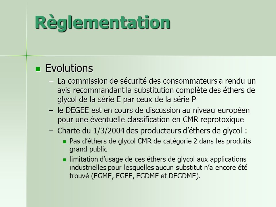 Règlementation Evolutions