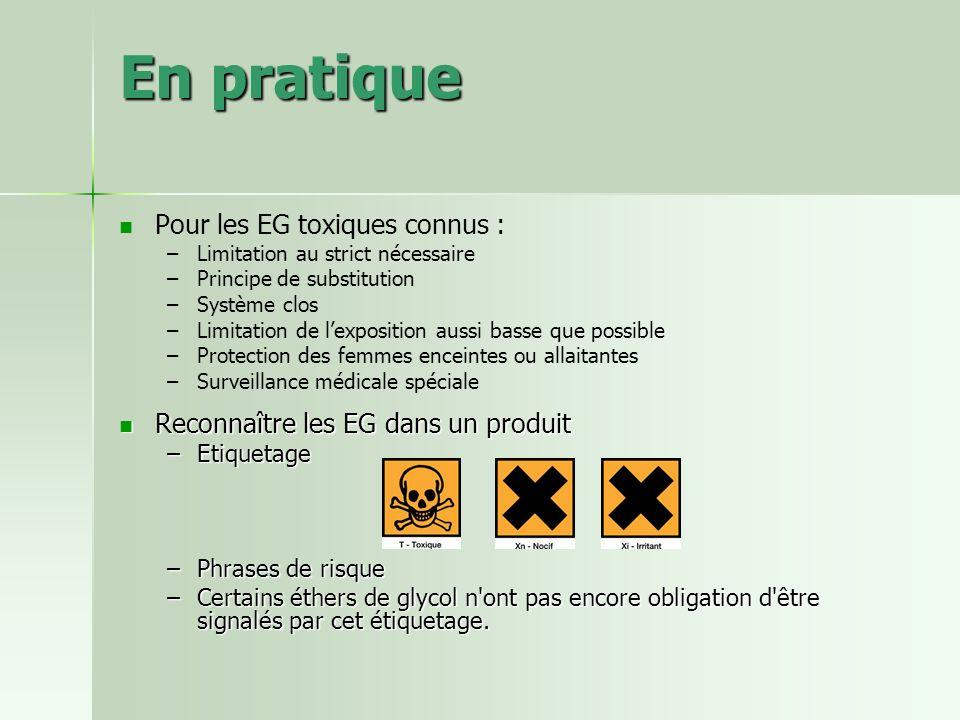 En pratique Pour les EG toxiques connus :