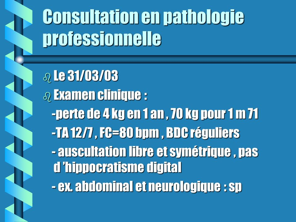 Consultation en pathologie professionnelle