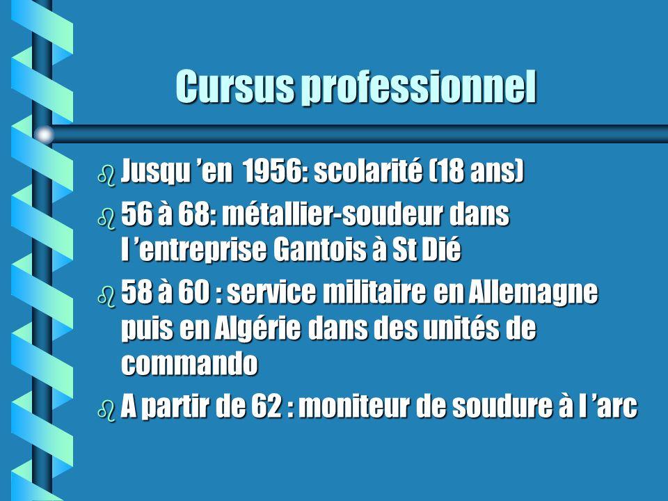 Cursus professionnel Jusqu 'en 1956: scolarité (18 ans)