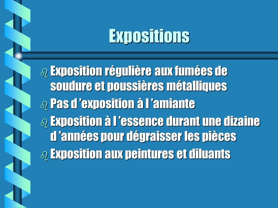 Expositions Exposition régulière aux fumées de soudure et poussières métalliques. Pas d 'exposition à l 'amiante.