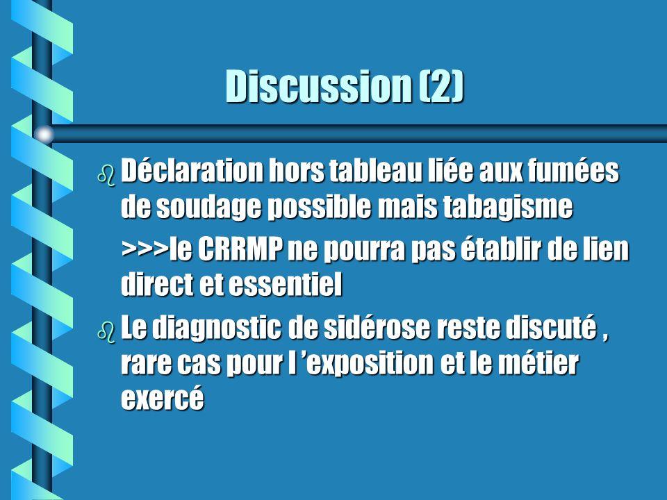 Discussion (2) Déclaration hors tableau liée aux fumées de soudage possible mais tabagisme.