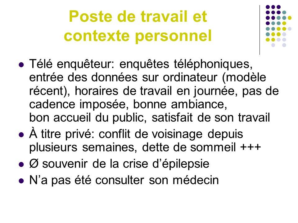 Poste de travail et contexte personnel