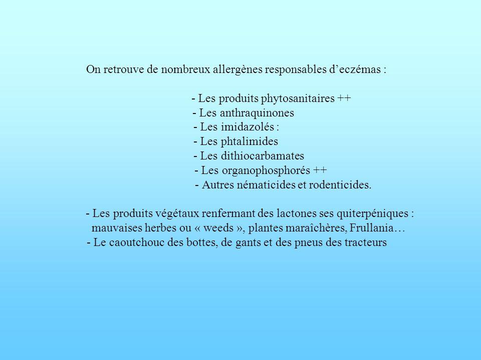 On retrouve de nombreux allergènes responsables d'eczémas : - Les produits phytosanitaires ++ - Les anthraquinones - Les imidazolés : - Les phtalimides - Les dithiocarbamates - Les organophosphorés ++ - Autres nématicides et rodenticides.