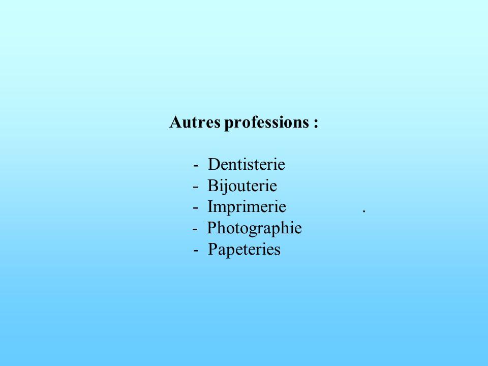 Autres professions : - Dentisterie. - Bijouterie. - Imprimerie
