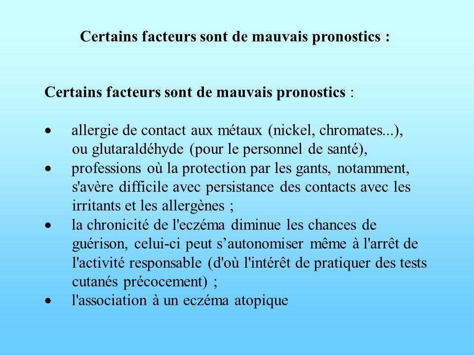 Certains facteurs sont de mauvais pronostics :