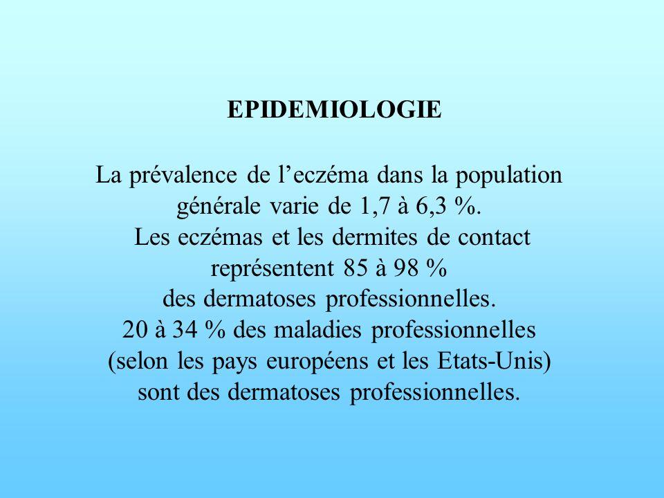 EPIDEMIOLOGIE La prévalence de l'eczéma dans la population générale varie de 1,7 à 6,3 %.