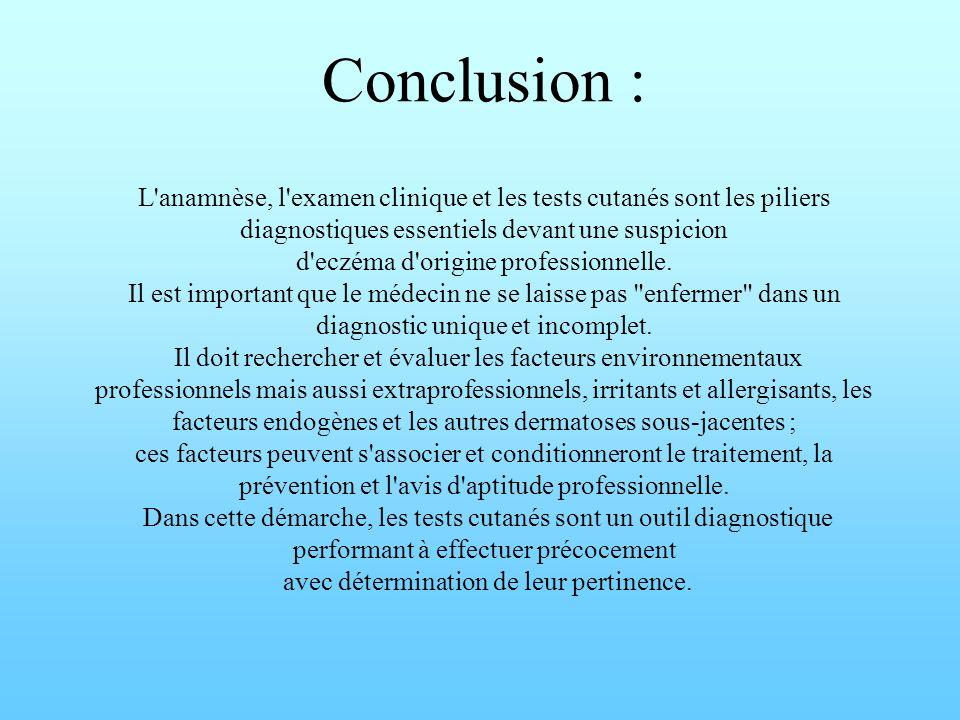 Conclusion : L anamnèse, l examen clinique et les tests cutanés sont les piliers diagnostiques essentiels devant une suspicion d eczéma d origine professionnelle.
