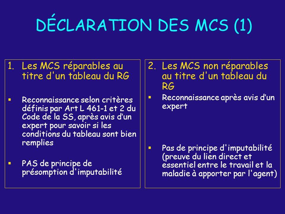 DÉCLARATION DES MCS (1) Les MCS réparables au titre d un tableau du RG