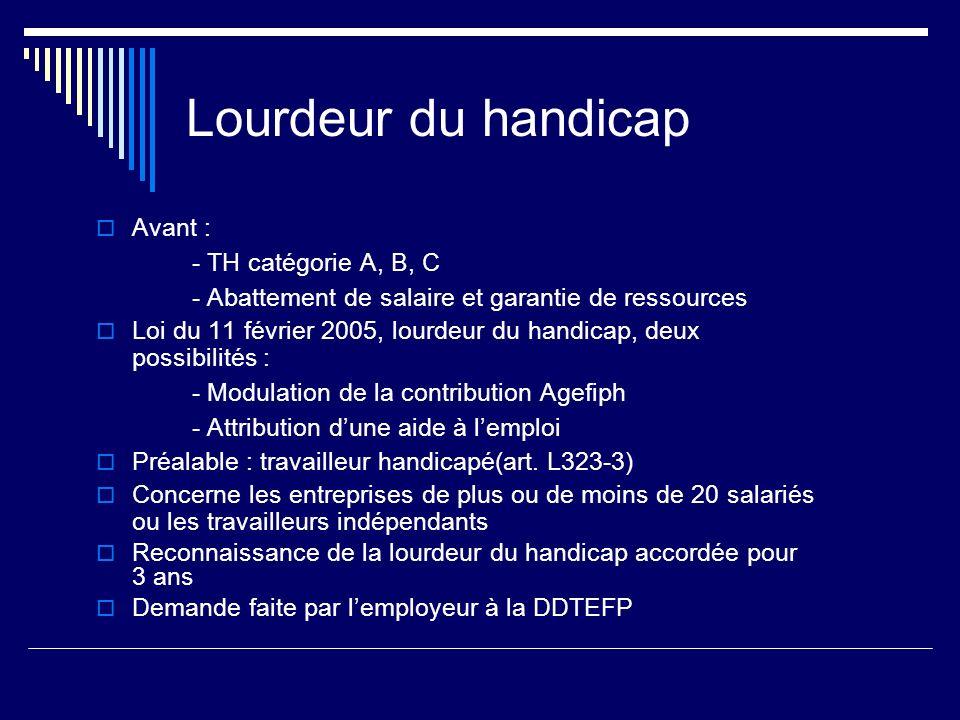 Lourdeur du handicap Avant : - TH catégorie A, B, C
