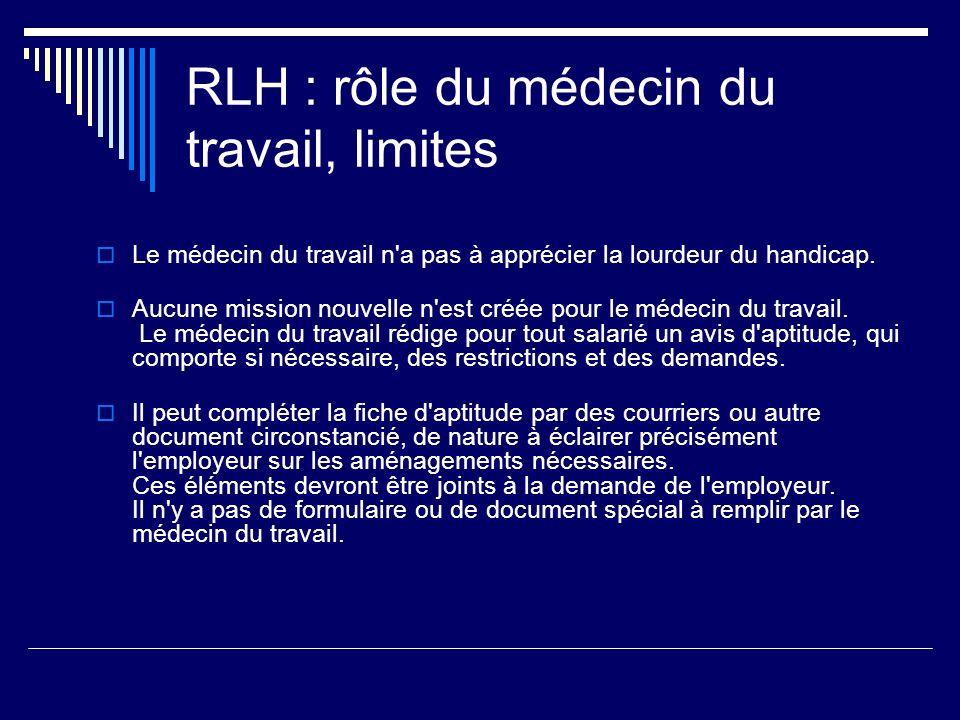 RLH : rôle du médecin du travail, limites