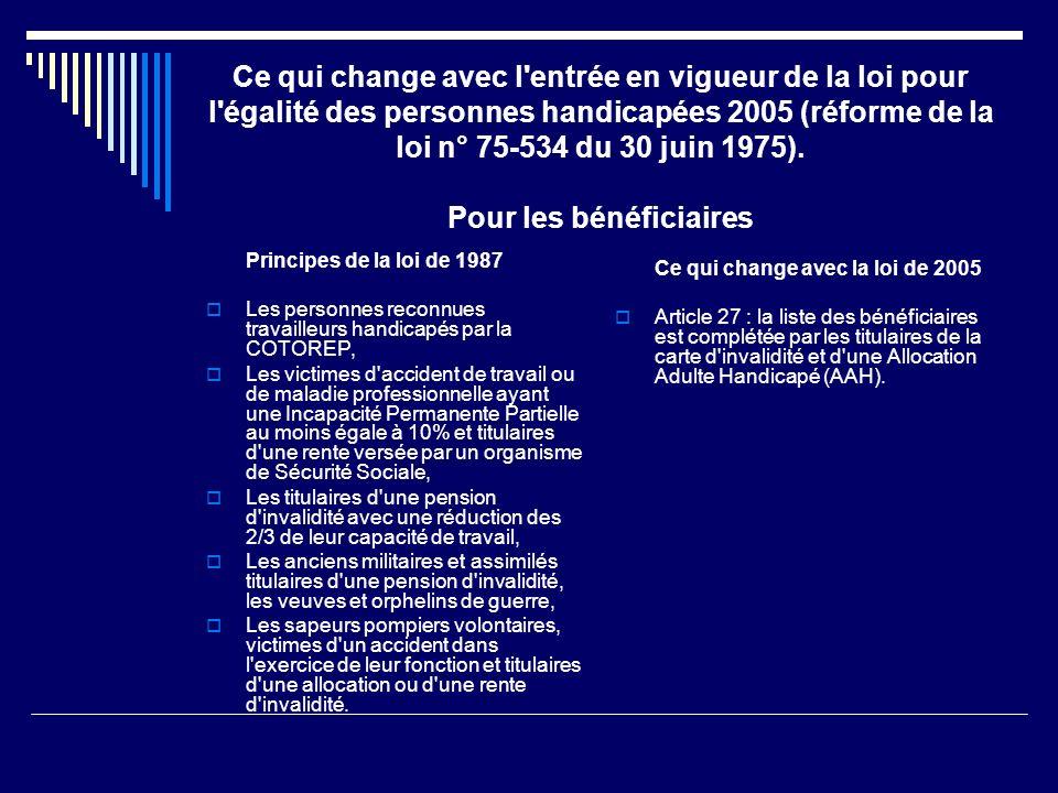 Ce qui change avec l entrée en vigueur de la loi pour l égalité des personnes handicapées 2005 (réforme de la loi n° 75-534 du 30 juin 1975). Pour les bénéficiaires