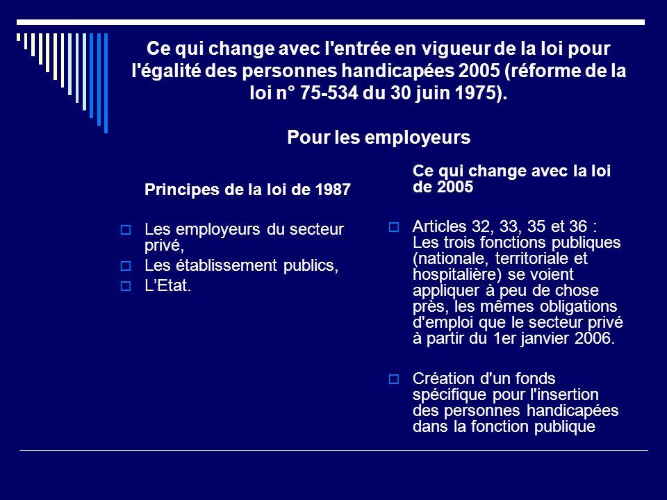 Ce qui change avec l entrée en vigueur de la loi pour l égalité des personnes handicapées 2005 (réforme de la loi n° 75-534 du 30 juin 1975). Pour les employeurs