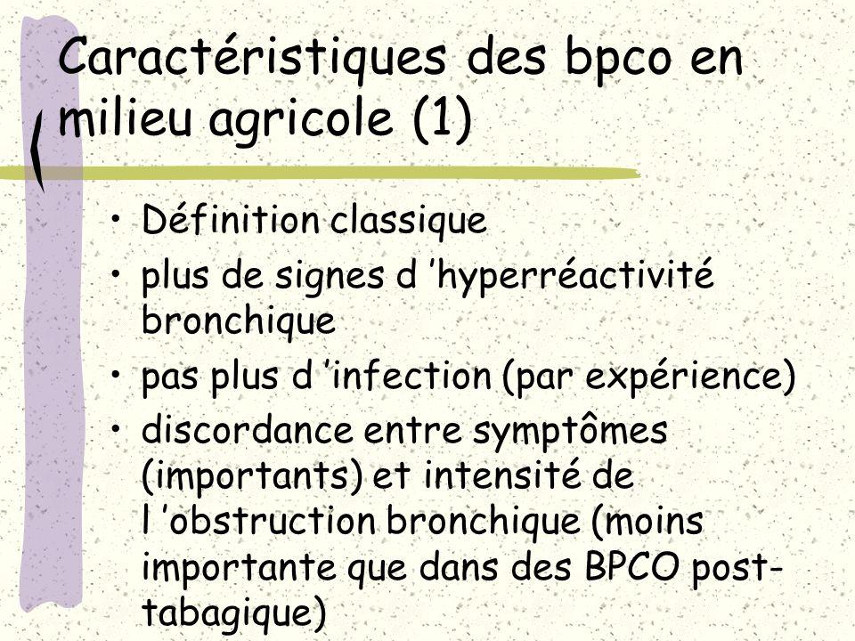 Caractéristiques des bpco en milieu agricole (1)